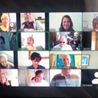Photograph of a Zoom meeting