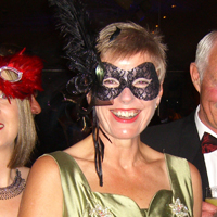 Photograph of attendee at SRSB Masquerade Ball.