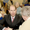 Photo of HRH The Earl of Wessex chatting to clients during his visit to SRSB