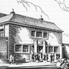 Black and white drawing of exterior of SRSB's Mappin Street Centre in 1935
