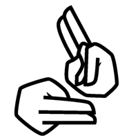 Illustration of two hands doing sign language