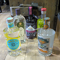 Photo of bottles of gin that will be part of the meal