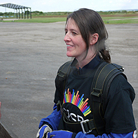 Photograph of Hayley after the Skydive in 2012