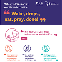 Crop of the IGA leaflet about the importance of eye drops during Ramadan