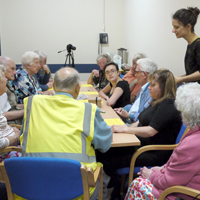 Photograph of reminiscence group doing Please Touch handling research