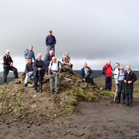 Photograph of ramblers on Kinder Scout