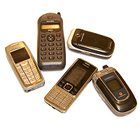 Photograph of old mobile phones