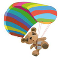 Cartoon of teddy bear jumping