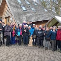 Photo of a large group of walkers and guides out on a walk